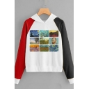 Oil Paint Collage Pattern Colorblocked Long Sleeve Leisure Pullover Hoodie