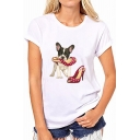 Ladies Cartoon Dog with Glasses High-heeled Shoes Print Short Sleeves White T-Shirt
