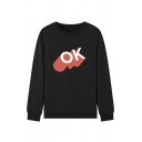 Simple Letter OK Printed Long Sleeve Round Neck Pullover Sweatshirt