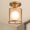 1-Light Opal Glass Flush Light Colonialist Brass Cylindrical Foyer Close to Ceiling Lighting