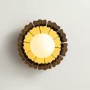 Yellow Sunflower Sconce Light Macaron 1-Light Metallic Wall Mount Lamp with Matte White Glass Ball Shade