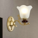 Colonial Style Flower Wall Sconce 1/2-Head Opal Glass Wall Mounted Lamp with Golden Metal Arm