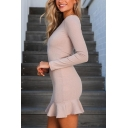 Basic Elegant Women's Long Sleeve Crew Neck Zipper Back Ruffled Trim Knit Mini Bodycon Dress in Pink