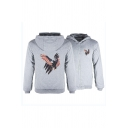 Winter Popular Star Striped Eagle Printed Long Sleeve Zip Up Leisure Thick Sports Hoodie