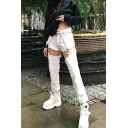 Plain Street Punk High Waist Buckled Hollow Out Ankle Slim Fit Straight Jeans for Women