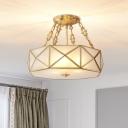 4 Bulbs Beveled Ceiling Flush Mount Colonial Brass Satin Opal Glass Semi Mount Lighting for Bedroom