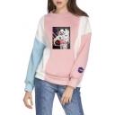 Fancy Panda Astronaut NASA Print Colorblock Patched Long Sleeve Loose Pullover Sweatshirt