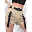 Casual Plain Mid Rise Belted Buckle Detailed Flap Pockets Slim Fit Straight Cargo Shorts for Women