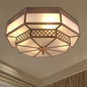 Brass 4 Heads Flush Mount Lamp Colonialism Sandblasted Glass Octagon Ceiling Fixture for Bedroom