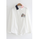 Cute Pompom Embellished Cartoon Balloon Contrast Collar Long Sleeve Oversized Shirt