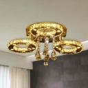 Circle Flush Mount Light Modern Teardrop Crystal Chrome LED Ceiling Light Fixture in Warm/White/2 Color Light, 23.5