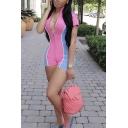Cute Hot Girl's Short Sleeve Deep V-Neck Contrasted Reflective Zipper Front Velvet Skinny Shorts Rompers in Pink