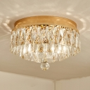 Tiered Crystal Block Flush Mount Lamp Modern 2 Heads Gold Ceiling Light Fixture for Balcony