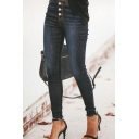 Trendy Elegant Ladies' High Waist Button Down Raw Edge Long Skinny Jeans in Navy Blue