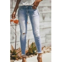 Girls' Casual Simply Mid Rise Bleach Distressed Fray Cuffs Ankle Length Skinny Jeans in Light Blue