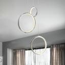 Crystal Round Cluster Pendant Light Modern LED Hanging Lamp in Chrome for Living Room, White/Warm Light