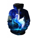 Cool 3D Unicorn Printed Long Sleeve Blue Hoodie with Pockets