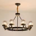 Clear Crystal Cylinder Chandelier Light Fixture Modern 5/6/8 Heads Black Hanging Lamp for Living Room