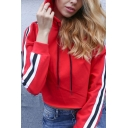 Womens Fashionable Striped Long Sleeve Red Cropped Drawstring Hoodie