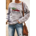 HALLMARK Letter Red Car Printed Long Sleeve Round Neck Gray Casual Christmas Graphic Sweatshirt
