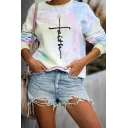 Unique Letter Printed Colorful Tie Dye Printed Long Sleeve Loose Casual Sweatshirt