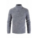 Mens Warm High Collar Long Sleeve Fluffy Mohair Plain Knitted Pullover Sweater