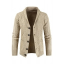 Mens Stylish Plain Beige Long Sleeve Shawl Collar Button Down Textured Loose Cardigan Coat