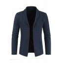 Mens Popular Plain Navy Blue Shawl Collar Long Sleeve Ribbed Knit Open Front Cardigan