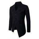 Mens Plain Long Sleeve Button Down Asymmetric Hem Solid Woolen Jacket Coat with Pocket