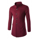 New Simple High Collar Long Sleeve Button Up Plain Tunic Wool Coat for Men