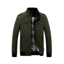 Winter Casual Stand Collar Long Sleeve Zip Closure Thick Cargo Jacket with Pocket