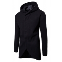 Mens Popular Simple Long Sleeve Hidden Placket Plain Tunic Hooded Wool Coat