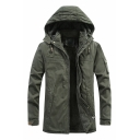 Mens Simple Plain Army Green Long Sleeve Zip Placket Tunic Casual Thick Work Jacket Hooded Coat