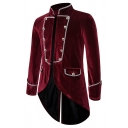 Mens Retro Plain Stand Collar Double Breasted Swallow-Tailed Tunic Jacket Tuxedo Banquet Blazer
