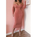Womens Sexy V-Neck Plain Long Sleeve Open Back Midi Fitted Chain Strap Dress