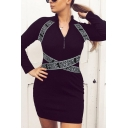 Ladies Black Funny Letter Ribbon Splicing Long Sleeve Half Zip Placket Mini Knit Sheath Dress