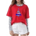 Creative Reflective Christmas Tree Pattern Crew Neck Short Sleeve Casual Loose T-Shirt