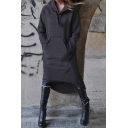 Womens Stylish Plain Long Sleeve High Low Hem Fleece Hoodie Midi Dress with Pouch Pocket