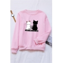 LOVE YOU LOVE ME Letter Two Cats Printed Long Sleeve Casual Pullover Sweatshirt