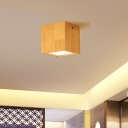 Cuboid Ceiling Mount Light Modern Stylish Wood Beige Downlight in Warm/White for Cloth Shop Gallery