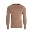 Mens New Stylish Plain Round Neck Long Sleeve Slim Fit Knitted Pullover Sweater