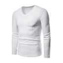 Mens Simple Casual Ribbed Knit Long Sleeve V-Neck Slim Fit Plain Sports Pullover Sweater