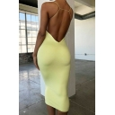 Womens Elegant Party Wear Plain Spaghetti Straps Open Back Midi Fitted Cami Dress