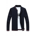 Mens Popular Striped Trim Stand Collar Long Sleeve Slim Fit Zip Up Leisure Cardigan Jacket