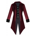 Mens Medieval Costume Punk Style Pattern Long Sleeve Single Breasted Button Embellished Long Swallowtail Coat