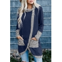 Womens Chic Stripe Trim Pocket Cowl Neck Long Sleeve Longline Asymmetric T-Shirt Top