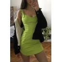 Womens Popular Solid Color Green Adjustable Straps Arc Hem Mini Nightclub Dress