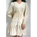 Womens Unique Plain Velvet Patch V-Neck Long Sleeve Button Down Ruffle Hem Mini A-Line Dress