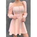 Ladies Vintage Plain Square Neck Puff Long Sleeve Button Down Pink Mini A-Line Dress