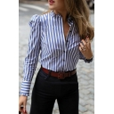 Womens Elegant Blue Stripe Single Breasted Puff Long Sleeve Lettuce-Edge Trim Shirt
